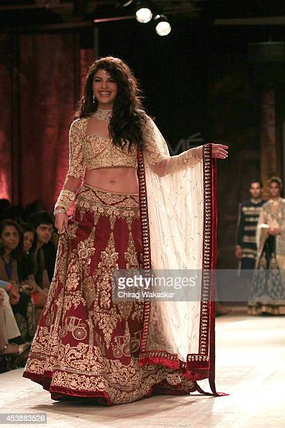 Jacqueline Fernandez showcases designs by Anju Modi during day 1 of Lakme Fashion Week Winter/Festive 2014 at The Palladium Hotel on August 20 2014...