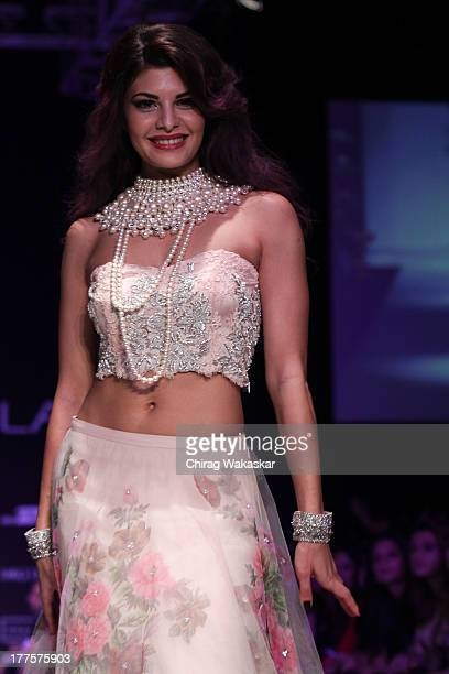 Jacqueline Fernandez showcases designs by Shehla Khan on the runway during day 2 of Lakme Fashion Week Winter/Festive 2013 at the Hotel Grand Hyatt...