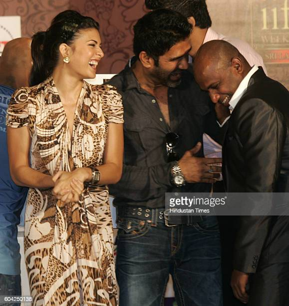 Jacqueline Fernandez Sunil Shetty and Sanath Jaysurya Media briefing was held in preparation for upcoming IIFA Award in Sri Lanka at The Trident at...