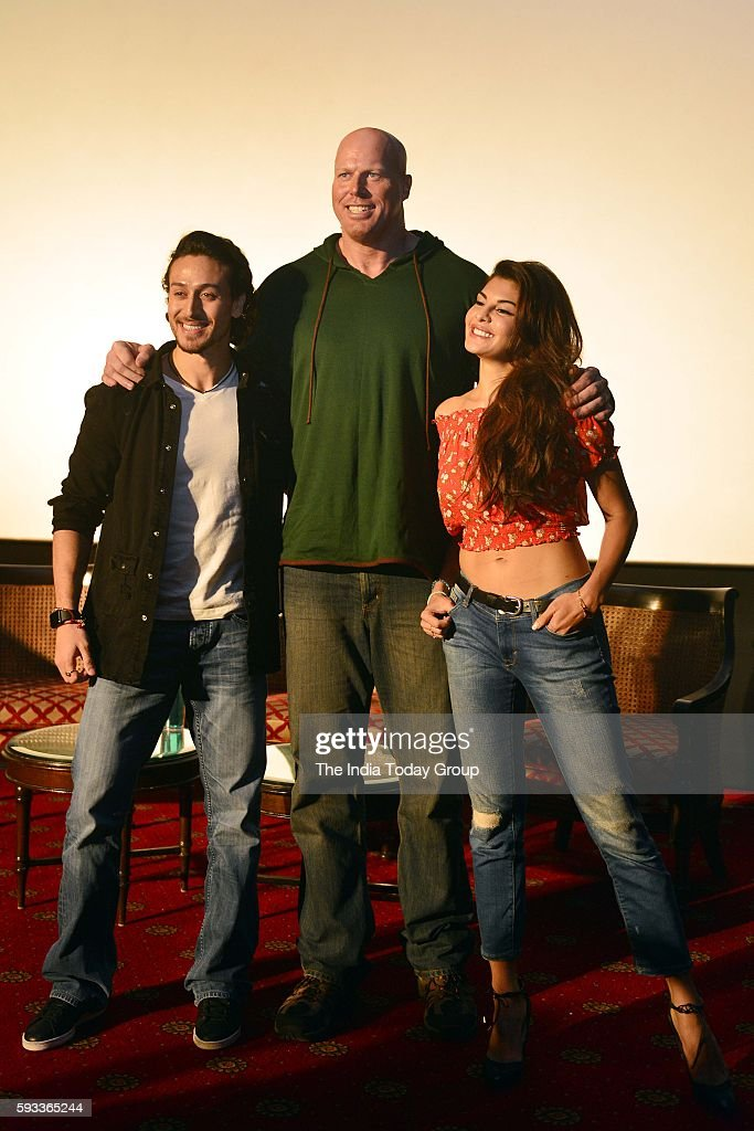 Jacqueline Fernandez Tiger Shroff and Nathan Jones during a press conference to promote their upcoming film A Flying Jatt in New Delhi