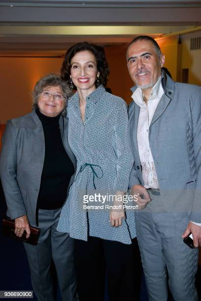 Jacqueline Franjou DirectorGeneral of the UNESCO Audrey Azoulay and Journalist Francois Durpaire attend the 2018 L'Oreal UNESCO for Women in Science...