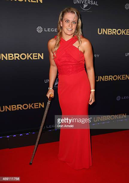 Jacqueline Freney arrives at the world premiere of Unbroken at State Theatre on November 17 2014 in Sydney Australia