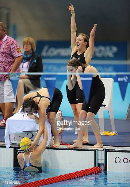 Jacqueline Freney Ellie Cole Annabelle Williams and Katherine Downie of Australia celebrate winning the gold in the Women's 4x100m Medley Relay 34...
