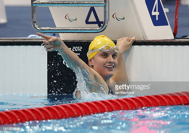 Jacqueline Freney of Australia becomes Australia's most succesful Paralympian by winning her seventh gold medal in the Women's 400m Freestyle S7 on...
