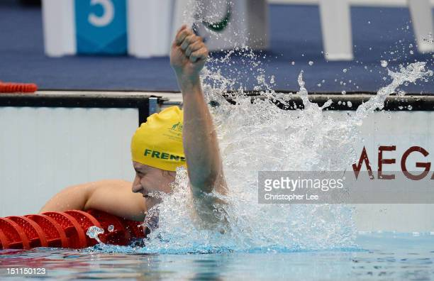 Jacqueline Freney of Australia celebrates after winning gold in the Women's 200m Individual Medley - SM7 final on day 4 of the London 2012 Paralympic...