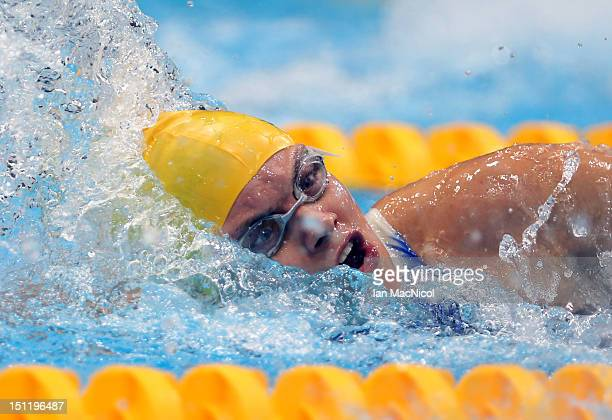 Jacqueline Freney of Australia competes in the Women's 100m Freestyle S7 final on day five of the London 2012 Paralympic Games at the Aquatics Centre...