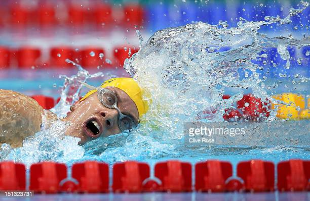 Jacqueline Freney of Australia competes in the Women's 400m Freestyle S7 heat 2on day 8 of the London 2012 Paralympic Games at Aquatics Centre on...