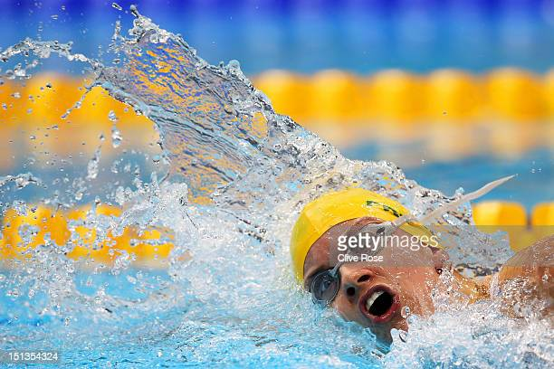 Jacqueline Freney of Australia competes in the Women's 400m Freestyle S7 final on day 8 of the London 2012 Paralympic Games at Aquatics Centre on...