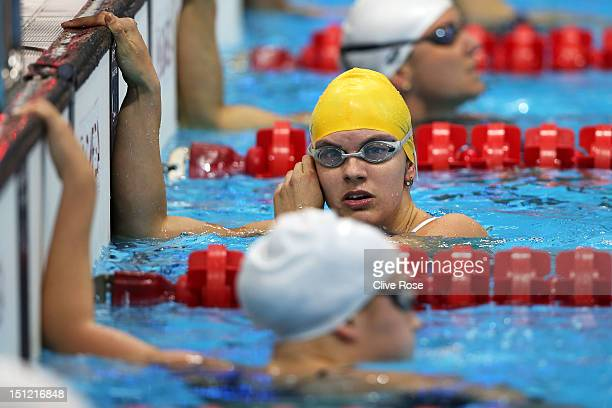 Jacqueline Freney of Australia looks on after competing in the Women's 50m Freestyle S7 heat 2 on day 6 of the London 2012 Paralympic Games at...
