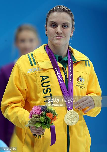 Jacqueline Freney of Australia with her gold medal from the women's 50m Freestyle S7 on day six of the London 2012 Paralympic Games at the Aquatics...