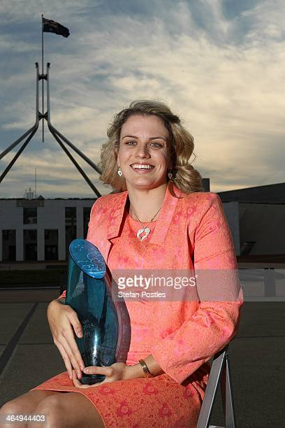 Jacqueline Freney poses for a portrait after being announced as the 2014 Young Australian of the Year at Parliament House on January 25 2014 in...