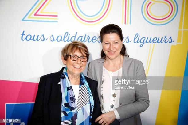 Jacqueline Godet and Agnes Buzyn attend 100 ans de la Ligue contre le Cancer Celebration at La Cite des Sciences on March 14 2018 in Paris France