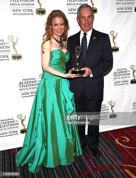 Jacqueline Gonzalez and New York City Mayor Michael R Bloomberg attend the 55th Annual New York Emmy Awards gala at the Marriott Marquis Times Square...