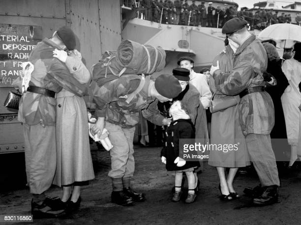 Jacqueline greets her father ColourSergeant Berkeley of the Royal Marines Commando when he returned to Plymouth from Port Said Egypt He and other...