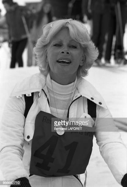 Jacqueline Huet à CransMontana lors du 1er grand prix de ski des artistes le 9 janvier 1977 Suisse