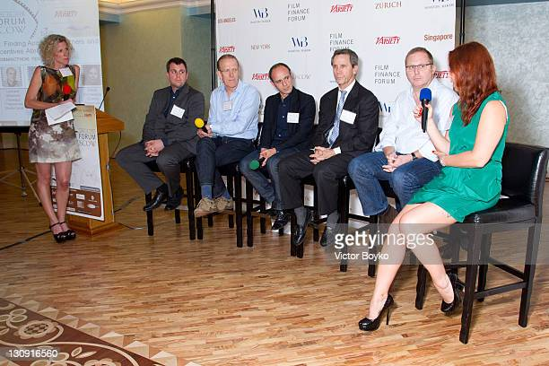 Jacqueline Hurt Matthias Aicher Chris Curling Leonard Glowinski Mark Hutchinson Michael Murphy and Elena Romanova at the Film Finance Forum at the...