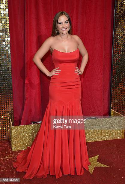 Jacqueline Jossa arrives for the British Soap Awards 2016 at the Hackney Town Hall Assembly Rooms on May 28 2016 in London England