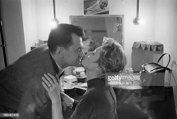 Jacqueline Joubert And Georges De Caunes En janvier 1957 Jacqueline JOUBERT présentatrice de télévision dans sa loge du théâtre de L' Ambigu' à Paris...