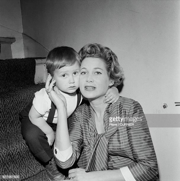 Jacqueline Joubert with Her Son Antoine de Caunes 1955