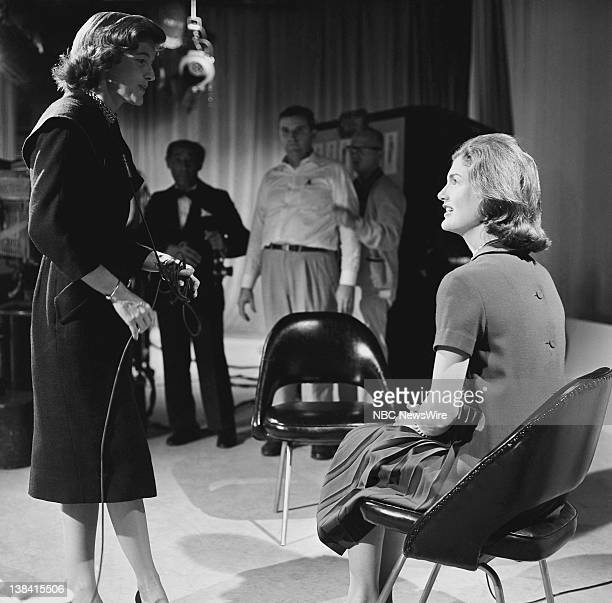 TODAY Jacqueline Kennedy Aired Pictured TODAY Girl Beryl Pfizer with Jacqueline Kennedy preparing for an interview on NBC News' 'Today' on September...