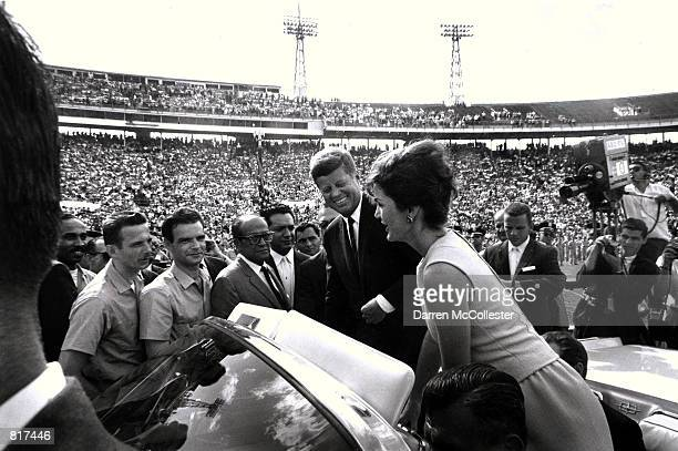 Jacqueline Kennedy and her husband John F Kennedy attend the Orange Bowl in Miami FL January 29 1962 where JFK addressed the 2506th Brigade after the...