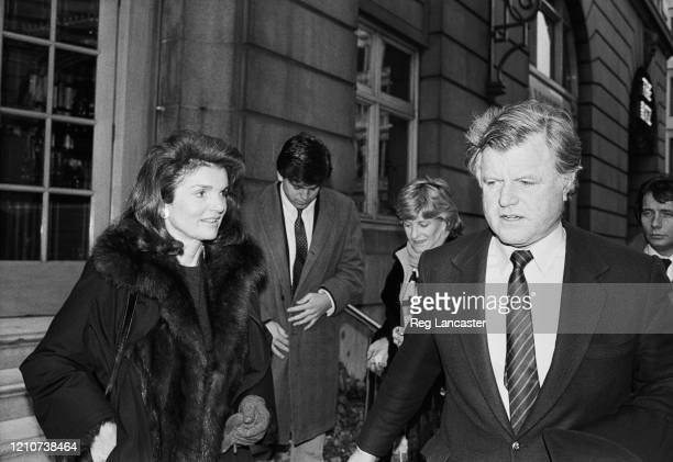 Jacqueline Kennedy Onassis and American politician Ted Kennedy outside The Ritz Hotel in London England 1st February 1985 Both were in the country to...