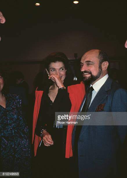 Jacqueline Kennedy Onassis and Art Director and a Photographer Alexander Gotfryd at a book launch being held at the Tiffany Co store 1986