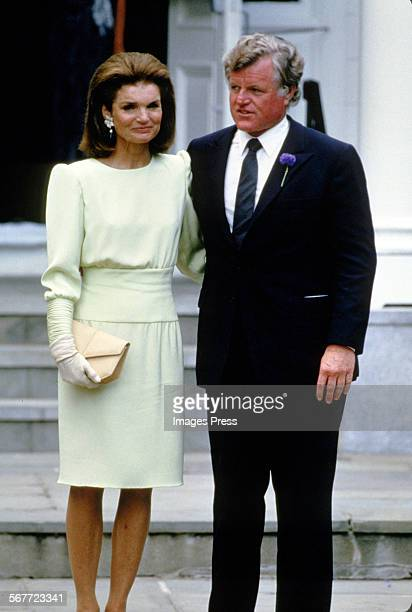 Jacqueline Kennedy Onassis and Ted Kennedy attends the wedding ceremony of Caroline Kennedy and Edwin Schlossberg in the Church of Our Lady of...
