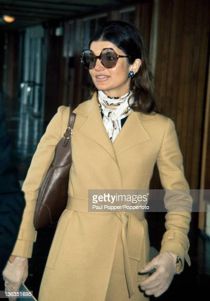 Jacqueline Kennedy Onassis at Heathrow Airport near London circa June 1971