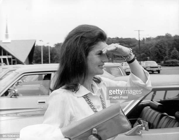 Jacqueline Kennedy Onassis attends Caroline Kennedys Graduation from Concord Academy on June 5 1975 in Concord Massachusetts