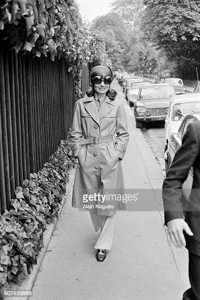 Jacqueline Kennedy Onassis former First Lady during the presidency of John F Kennedy and now wife of Greek shipping magnate Aristotle Onassis wears...