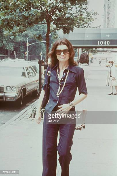 Jacqueline Kennedy Onassis walking down the streets of New York circa 1970 New York