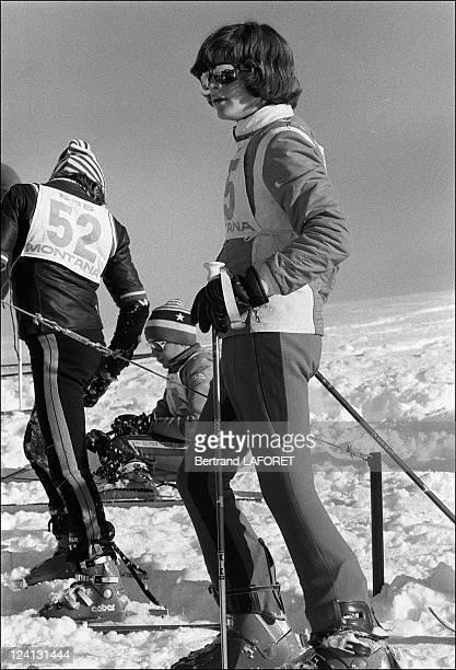 Jacqueline Kennedy Onassis with Caroline and John John in Gstaad Switzerland on January 02 1975 JohnJohn Kennedy