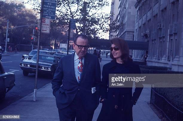 Jacqueline Kennedy Onassis with escort circa 1970 New York