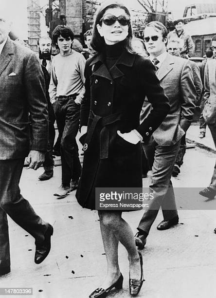 Jacqueline Kennedy tours the Harland and Wolff shipyard in Belfast, during a visit to Northern Ireland, 7th September 1970.