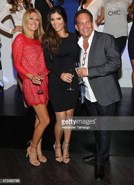 Jacqueline Krafka Chiquinquira Delgado and Andrew Leigh pose at Studio LX during the clothing launch of Chiquinquira Delgado in collaboration with...