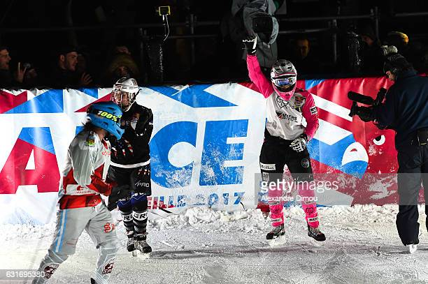 Jacqueline Legere of Canada win the First Redbull Crashed Ice in Marseille during the Red Bull Ice Crashed event at Bargemon Square on January 14,...