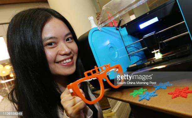 Jacqueline Leung Yanyan showing Robox Desktop 3D Printer at Hong Kong Convention And Exhibition Centre Wan Chai 10APR14