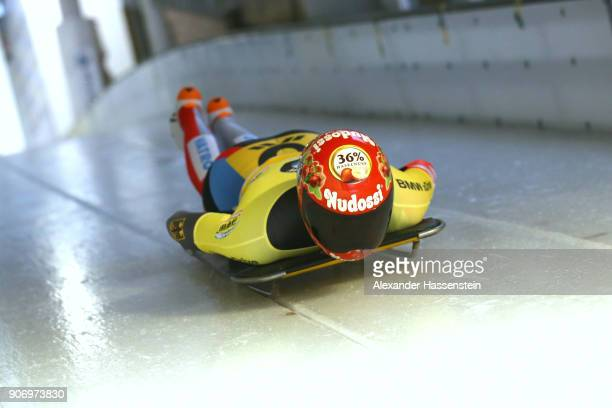 Jacqueline Loelling of Germany competes at Deutsche Post Eisarena Koenigssee during the BMW IBSF World Cup Skeleton on January 19 2018 in Koenigssee...