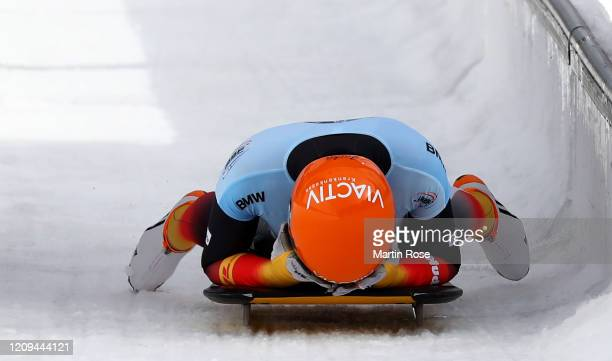 Jacqueline Loelling of Germany reacts after the final heat for the Women's Skeleton on day nine of the BMW IBSF World Championships Altenberg 2020 on...