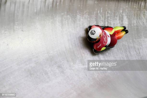 Jacqueline Loelling of Germany slides during the Women's Skeleton heat three on day eight of the PyeongChang 2018 Winter Olympic Games at Olympic...