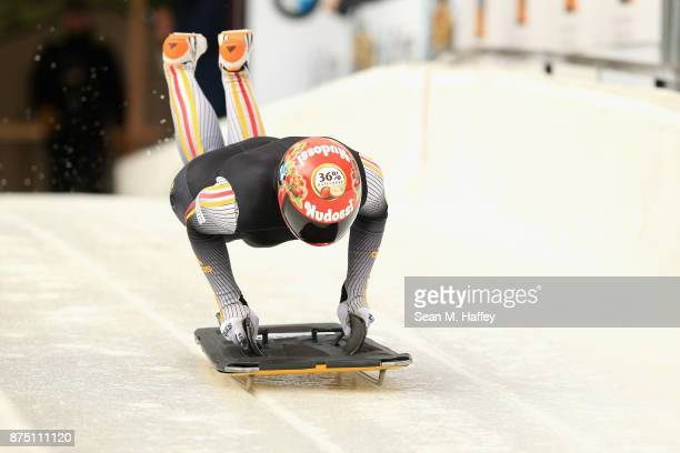Jacqueline Loelling of Germany takes a training run in the Women's Skeleton during the BMW IBSF Bobsleigh + Skeleton World Cup at Utah Olympic Park...
