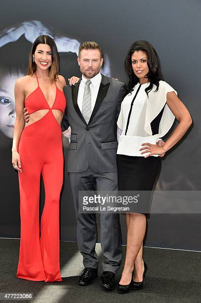 Jacqueline Mac Innes Wood Jacob Young and Karla Mosley attend a photocall for the 'The Bold and the Beautiful' TV series on June 15 2015 in...