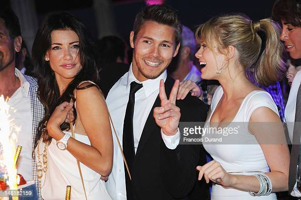 Jacqueline Mac Innes Wood Scott Clifton and Kim Matula attend the 25th Years Anniversary of 'The Bold and The Beautiful' at Monte Carlo Bay on June...