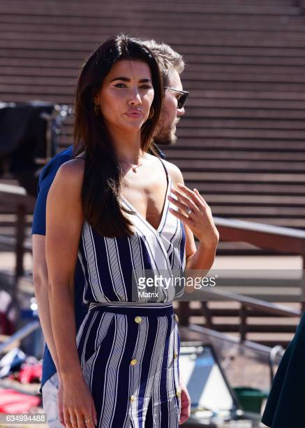 Jacqueline MacInnes Wood filming Bold and the Beautiful on February 13 2017 in Sydney Australia
