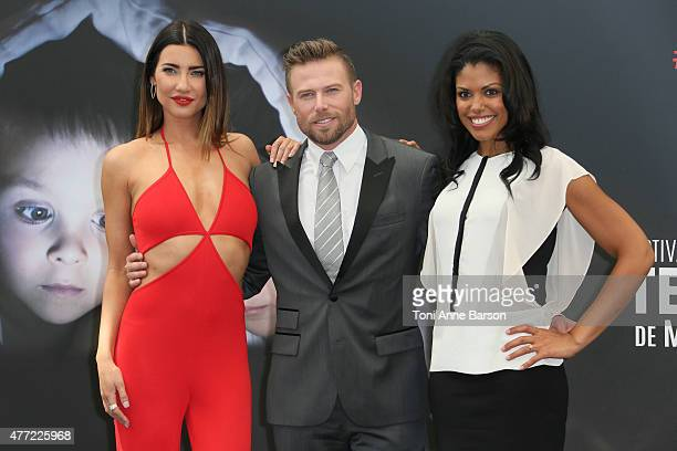 Jacqueline MacInnes Wood Jacob Young and Karla CheathamMosley attend a photocall for the 'The Bold and the Beautiful' TV series on June 15 2015 in...