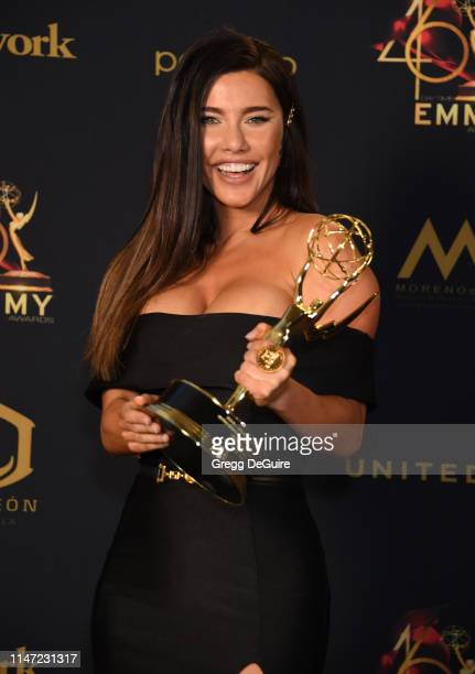 Jacqueline MacInnes Wood poses with the Daytime Emmy Award for Outstanding Lead Actress in a Drama Series during the 46th annual Daytime Emmy Awards...