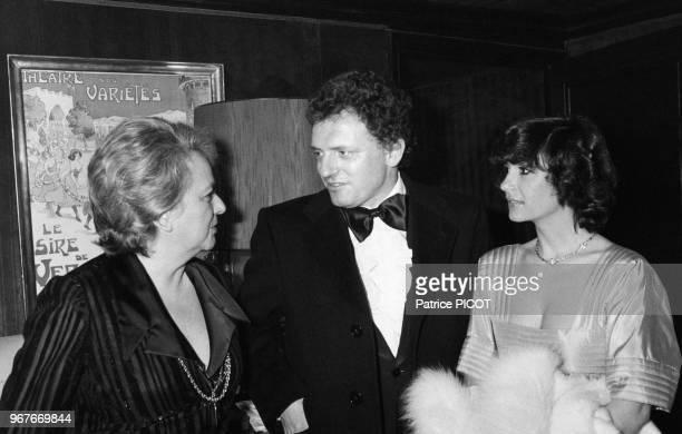 Jacqueline Maillan Jacques Martin et Danièle Evenou lors d'une soirée le 23 février 1977 à Paris France