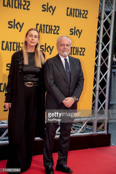 Jacqueline Marie Baudit Aurelio De Laurentis during the Red Carpet of the Sky Catch22 TV series preview in Rome Italy on May 13 2019