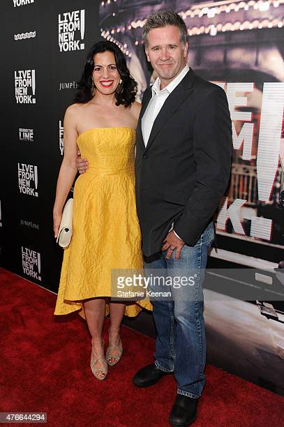 Jacqueline Mazarella and producer Owen Moogan attend the Live From New York Los Angeles premiere at Landmark Theatre on June 10 2015 in Los Angeles...